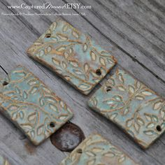 2 Large Rectangle Curved Bead in Seagreen by CapturedMoments, $5.99