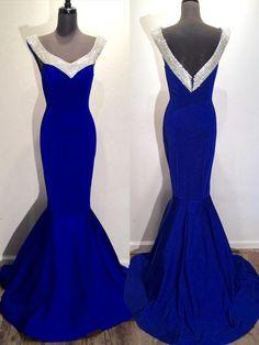 Chic Prom Dresses Royal Blue Trumpet/Mermaid Rhinestone Sexy Prom Dress/Evening Dress JKL352