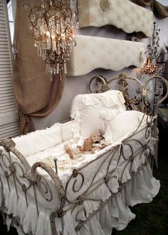 This has been a WHIRLWIND tour of Texas for vintagesusie & wings! I have walked more fields, drank more sweet tea, eaten more yummy cupc. Nursery Room Decor, Girl Nursery, Baby Doll Bed, Vintage Crib, Magnolia Pearl, Dream Baby, Home And Deco, Baby Cribs, Kid Beds