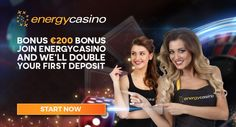 Welcome to EnergyCasino! As part of our welcome package, we will match your first deposit with a 100% bonus up to €200.