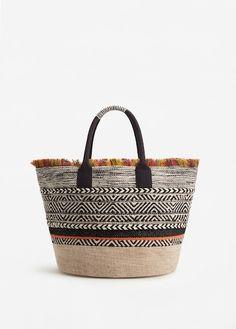 Embroidered cotton basket bag
