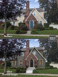Exterior Gris, Exterior Design, Colonial Exterior, Home Exterior Makeover, Exterior Remodel, Painted Brick Exteriors, House Makeovers, Exterior Paint Colors For House, Exterior Colors