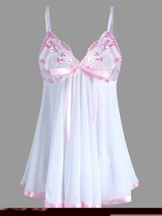 f0a5fe2851743 Plus Size Cami Mesh Embroidered Lingerie Dress - WHITE 5XL Lingerie  Outfits