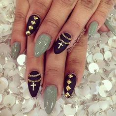 Cross + Chain Nail Art Design.