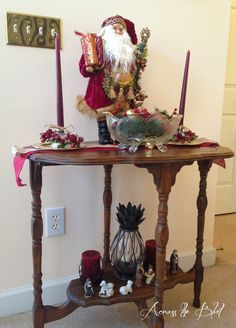 Foyer Table Christmas Decor Mixing Dollar Tree Items With Antiques