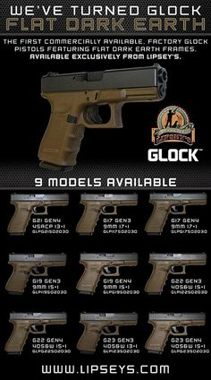 """Glock Gen3 & Gen4 in """"Flat Dark Earth"""" via Lipsey's... Oh my god, I have to have one..."""
