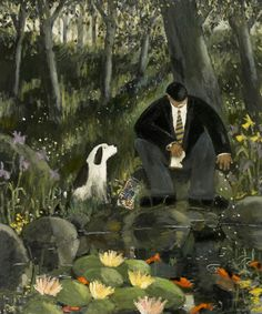 'The Lily Pond' by Gary Bunt: I am here with my master Down by the pond He's feeding the fish some bread I think he's forgot it's gone clock And I would like to be fed dog man pond water lily lilies wood woods Art And Illustration, Illustrations Posters, Lily Pond, Naive Art, Art Design, Dog Art, Painting & Drawing, Illustrators, Modern Art
