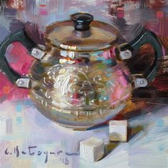 "Daily Paintworks - ""Silver Bowl and Sugar Cubes"" - Original Fine Art for Sale - © Elena Katsyura"