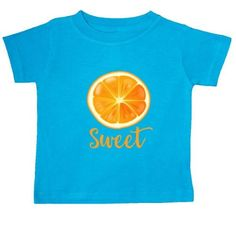 Inktastic Sweet Orange Baby T-Shirt Fruit Citrus Juicy Healthy Pinkinkartkids Food Drinks Chef Cook Kitchen Coffee T-shirt Infant Tees Shower Gift Clothing Apparel, Infant Boy's, Size: 12 Months, Blue