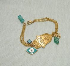 Golden Hamsa Hand Charm Bracelet - $15.00 - Handmade Jewelry, Crafts and Unique Gifts by Harmonee's Magickal Creations
