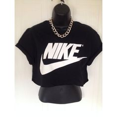 unisex customised nike crop top t shirt top grunge festival fashion ($19) ❤ liked on Polyvore featuring tops, t-shirts, grunge t shirts, crop t shirt, crop tee, unisex t shirts and nike tees