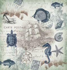 Nautical Shower Curtain, Seaside Postcard by Tre Sorelle