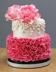 Peony's & Pearls by The Honeybee Cakery - Cake by The Honey Bee Cakery…