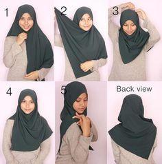 Stylish Hijab, Casual Hijab Outfit, Hijab Chic, Simple Hijab Tutorial, Hijab Style Tutorial, Islamic Fashion, Muslim Fashion, Habits Musulmans, How To Wear Hijab