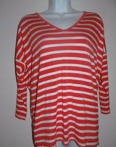 Michael Kors Women's Coral/White V-Neck L/S Back Zip T-Shirt Top Blouse Sz S  #MichaelKors #VNeck