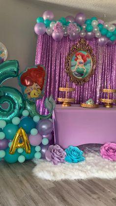 Little Mermaid Decorations, Mermaid Birthday Decorations, Mermaid Theme Birthday, Little Mermaid Birthday, Little Mermaid Parties, Girl Birthday Themes, Mermaid Themed Party, Little Pony Birthday Party, Mermaid Balloons