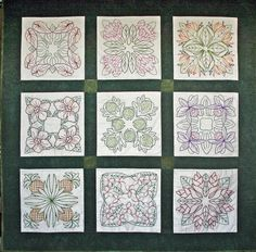 Hawaiian quilt patterns translated into embroidery -- Redwork gone Hawaiian tropical-threadworks