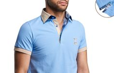 Sky Blue Polo Shirt Checkered Lining Short-sleeves  $89.90 Men's Fashion XOOS French Shirts
