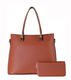DESIGNER SHOULDER BAG SZ-3770 - 4 different colors: Black, Red, Khaki and Brown - Zipper top closure - Textured faux leather - Rear zipper pocket - Protective metal foot base - Inside lining with open/zipper pockets - 18 inch handles & 52 inch adjustable strap - 14 (W) x 6.5 (D) x 11 (H) inches