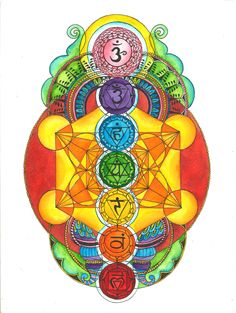 Chakras with Metatron's Cube. How's everybody doing with their meditations? There are a few pins to help us further clear and balance our chakras as well as some chakra meditation music ❤️❤️❤️ Chakra Art, Chakra Healing, Chakra Painting, Chakra Tattoo, Geometry Art, Sacred Geometry, Geometry Tattoo, Pattern Floral, Les Chakras