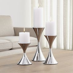 Arden Stainless Steel Pillar Candle Holders | Crate and Barrel