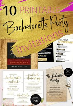 10 Printable bachelorette invitations for every bachelorette party theme Bachelorette Party Themes, Bachelorette Party Invitations, Bachelorette Weekend, Printable, Bridesmaid, How To Plan, Maid Of Honour, Hens Party Invitations, Bachelorette Themes