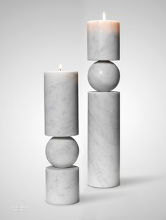 Fulcrum Candlesticks Made Out of Carrara Marble