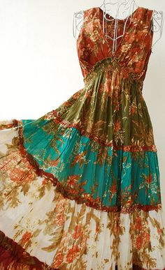 Boho Style Long Tiered Ruffle Dress... I love the color, pattern and cut of this dress. Plus it looks comfy!