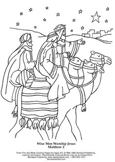 Wise Men Worship Jesus 1.5-2 years after His birth - Coloring Page