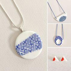 Porcelain jewelry by Bye Bye Belle on Etsy
