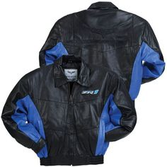 C6 ZR1 Corvette Black and Blue Lambskin Bomber Jacket