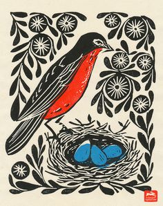 block print, block print illustration, woodcut, illustration, andrea lauren, andrea lauren prints, bird, robin's nest, robin,