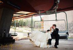 Bride and groom on lift at Northstar California in Lake Tahoe. #mountainwedding