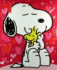 Snoopy & Woodstock hugging art
