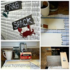 Home. Made. Interest. | Crab Shack Birthday Party | {http://www.homemadeinterest.com}  How to give wood that weathered look with steel wool, vinegar, and tea.