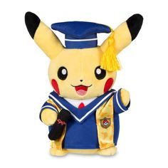 Official Pikachu Celebrations Graduate Pikachu. With cap and gown, this Graduate Pikachu is ready to get its degree and celebrate its graduation day. A Pokémon Center Original design.