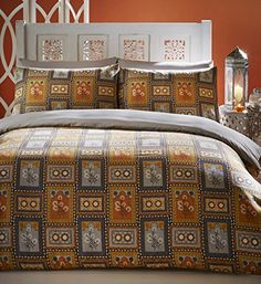 Jaipur Double Duvet Cover and 2 Pillowcase Set Bedding-Indian design-Orange Grey Mustard Colours, Cotton and Polyester Double Duvet Covers, Bed Duvet Covers, Chinese Furniture, Wood Furniture, Jaipur, Indian Bedding, Moroccan Bedroom, Double Beds, Bed And Breakfast