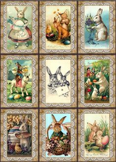 http://www.ebay.com/itm/9-EASTER-BUNNY-VINTAGE-155-lb-SCRAPBOOK-PAPER-CRAFT-TAGS-Laminated-or-Unlam-/261417138659
