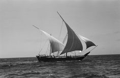 View of a boom (large boat, a type of dhow) sailing up the Persian Gulf, returning from Zanzibar to its home port of Kuwait. 1948