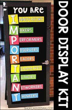 Decorate your classroom door with an inspirational message. All of the pieces are easy to cut and the display fits perfectly on a classroom door or you can use it on a bulletin board! Perfect for back to school or anytime throughout the school year. Classroom Door Displays, School Displays, Classroom Bulletin Boards, Classroom Rules, Classroom Setting, Classroom Design, School Classroom, Classroom Organization, Bulletin Board Ideas For Teachers