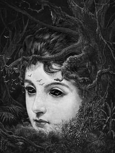 Illustrations: London-based Dan Hillier's gorgeously dark illustrations are reminiscent of some of the ingenious work of MC Escher – but with some kind of a decadent, witchy twist; think feathers, botanica or tentacles… | via livefastmag.com | #Art #Illustration #DanHillier