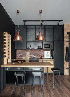 Industrial Style Kitchen, Loft Kitchen, Industrial Interior Design, Interior Design Kitchen, Kitchen Designs, Kitchen Ideas, Apartment Interior, Apartment Design, Loft Design