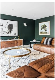 Tiny Living Rooms, Colourful Living Room, Living Room Green, New Living Room, Living Room Designs, Apartment Living, Small Living, Apartment Design, Brown And Green Living Room