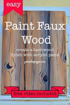 Learn how to paint faux wood grain to create beautiful faux barnwood, fences or other wood backgrounds for you paintings. Easy step by step lesson with free video! Acrylic Painting For Beginners, Acrylic Painting Techniques, Using Acrylic Paint, Step By Step Painting, Beginner Painting, Painting Lessons, Painting Tips, Painting Pictures, Faux Painting