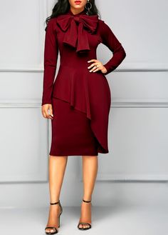 Wine Red Tie Neck Peplum Waist Long Sleeve Dress on sale only US$35.84 now, buy cheap Wine Red Tie Neck Peplum Waist Long Sleeve Dress at liligal.com