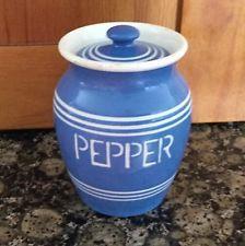 Bretby Blue Kitchen Kupboard Pepper Pot