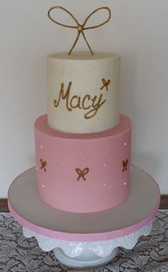 Simple pretty girly birthday cake with ivory, pink & gold. Precious bows and dots. Smooth buttercream with royal icing details Girly Birthday Cakes, Cupcake Cakes, Cupcakes, Buttercream Cake, Royal Icing, Serendipity, Pink And Gold, Smooth, Dots