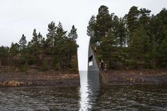 "Artist Jonas Dahlberg's Memory Wound, on Norway's island of Utøya. The memorial will consist of an 11-foot cut across the island, through which water will pass. ...a viewing platform on one side of the incision, and names will be inscribed on the other side, beyond a plane of glass. ""The names will be close enough to see and read clearly, yet ultimately out of reach,"" explains Dahlberg. ""This cut is an acknowledgement of what is forever irreplaceable."""