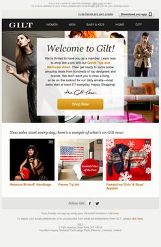 Gilt welcome email 2013