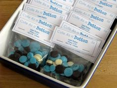 """CHOCOLATE buttons for a """"Cute as a Button"""" baby shower!"""